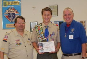 Eagle Scout Joe McCabe receives Knights of Columbus Eagle Scout Award